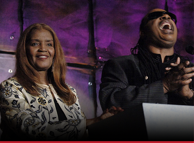 Picture of Sylvia Moy and Stevie Wonder at the Songwriter Hall of Fame