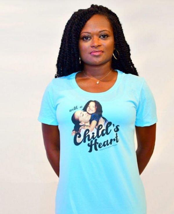 with a childs heart blue womens shirt
